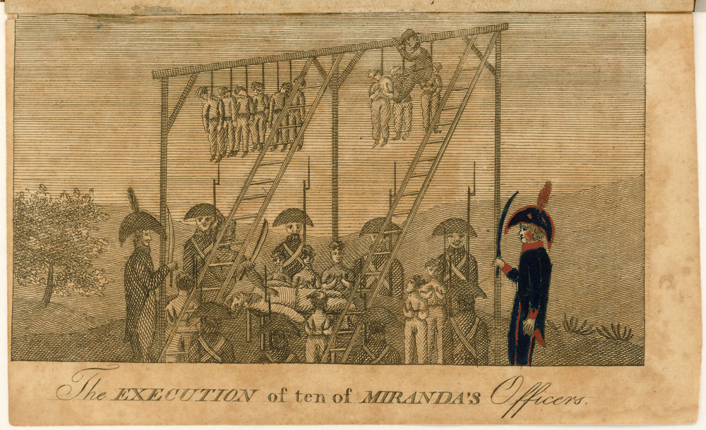 'The Execution of ten of Miranda's Officers,' Moses Smith, History of the Adventures and Sufferings of Moses Smith, during Five Years of his Life. Brooklyn: Printed by Thomas Kirk, Main-Street, for the author, 1812. Courtesy of the John Carter Brown Library at Brown University.