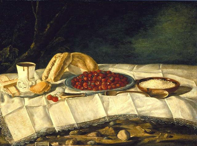 Juan Bautista Romero (Spain, 1756–after 1802), Still Life with Chocolate and Strawberries, ca. 1775–90. Oil on panel. North Carolina Museum of Art, Purchased with funds from the North Carolina State Art Society (Robert F. Phifer Bequest), G.52.9.184.