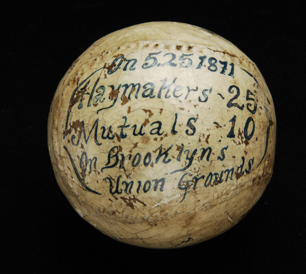 Baseball used by Esteban Bellán, 1871. Courtesy of the National Baseball Hall of Fame and Museum, Cooperstown, NY.