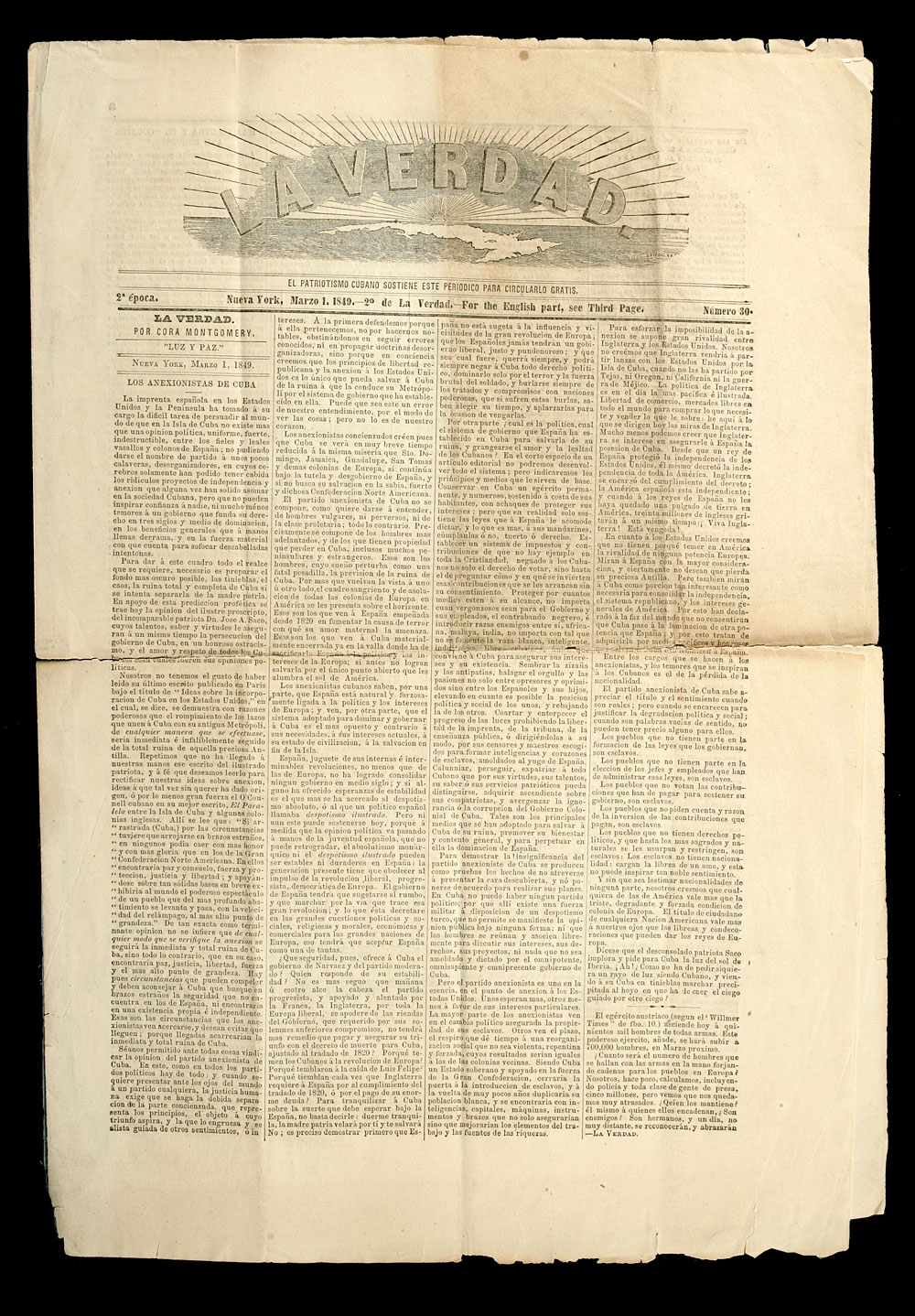 La Verdad (184853), March 1, 1849. Reproduction. New-York Historical Society.