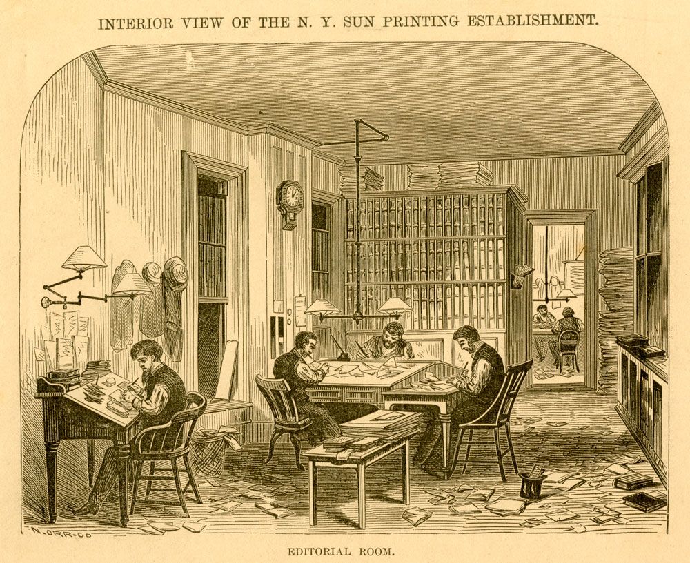 N. Orr Co., Interior View of the N. Y. Sun Printing Establishment. Editorial Room. Reproduction. New-York Historical Society. 