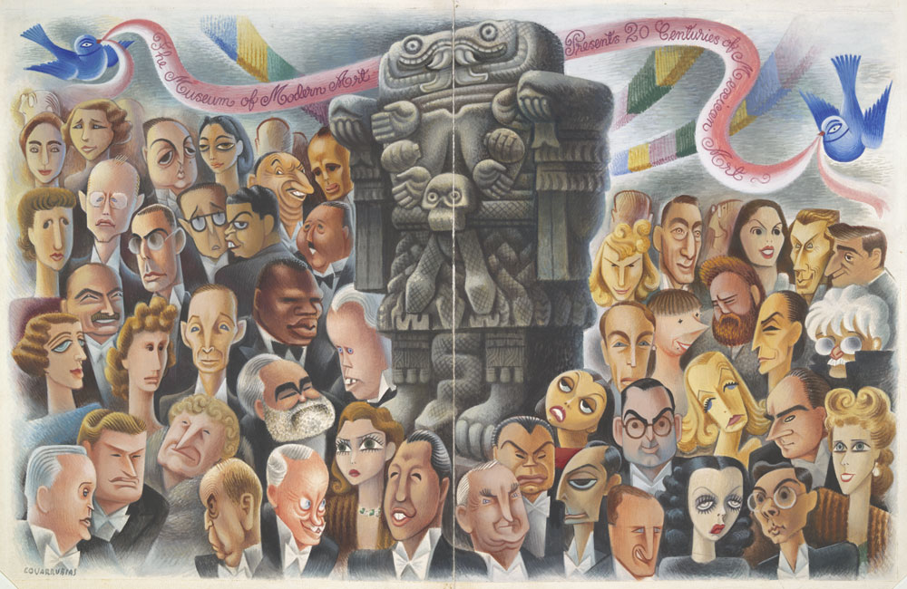 Miguel Covarrubias (Mexico, 1904–57), Twenty Centuries of Mexican Art at the Museum of Modern Art, 1940. Watercolor. Yale University Art Gallery, Gift of Sra. Rosa R. de Covarrubias.